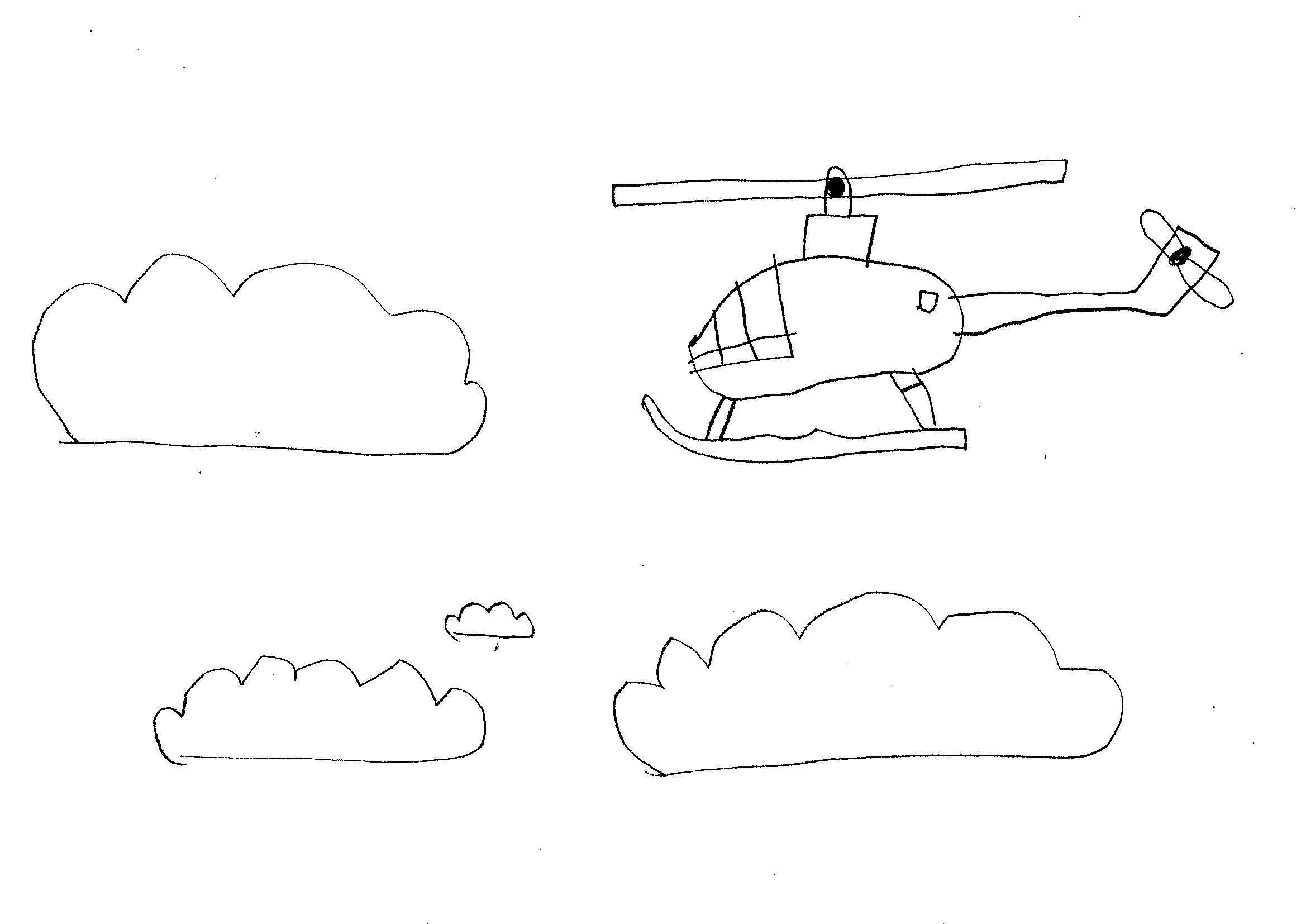 Disegni Da Colorare Bambini I Elicottero Tra Le Nuvole